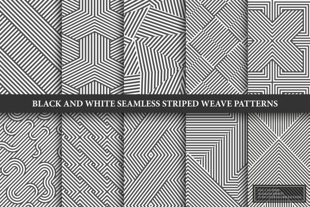 Collection of seamless weave geometric patterns. Black and white endless striped textures - creative monochrome backgrounds. You can find repeatable design in swatches panel Collection of seamless weave geometric patterns. Black and white endless striped textures - creative monochrome backgrounds. You can find repeatable design in swatches panel. geometric shape stock illustrations
