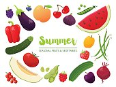 Collection of seasonal fruits and vegetables. Summer time collection. Vector EPS10 illustration.
