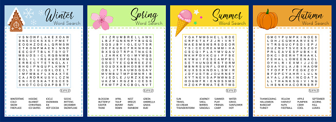 Collection of Seasons word search puzzle. Winter, spring, summer, autumn crossword. Worksheet for learning English.  Educational game suitable for social media.