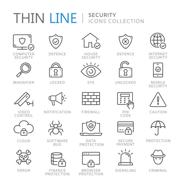 Collection of security thin line icons Collection of device thin line icons. Vector eps10 firewall stock illustrations