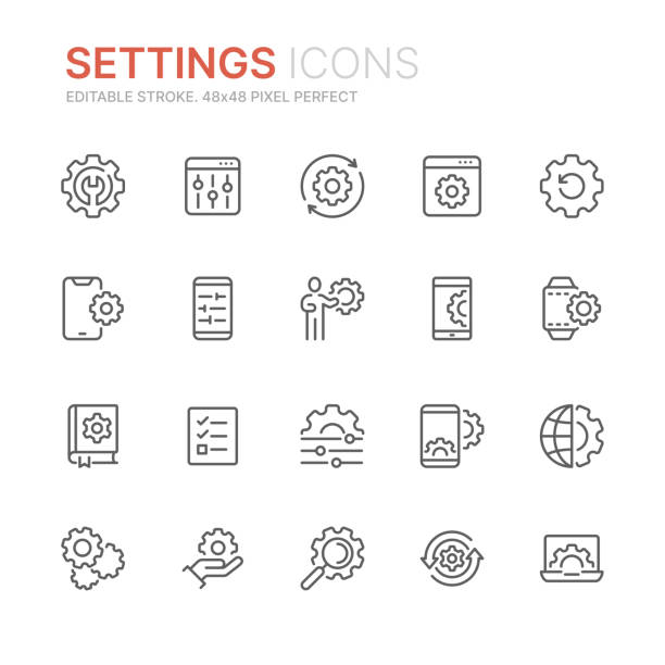 Collection of setting and options related line icons. 48x48 Pixel Perfect. Editable stroke Collection of setting and options related line icons. 48x48 Pixel Perfect. Editable stroke knob stock illustrations