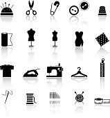 Collection of sewing related icons