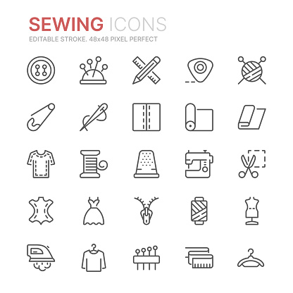 Collection of sewing related line icons. 48x48 Pixel Perfect. Editable stroke clipart