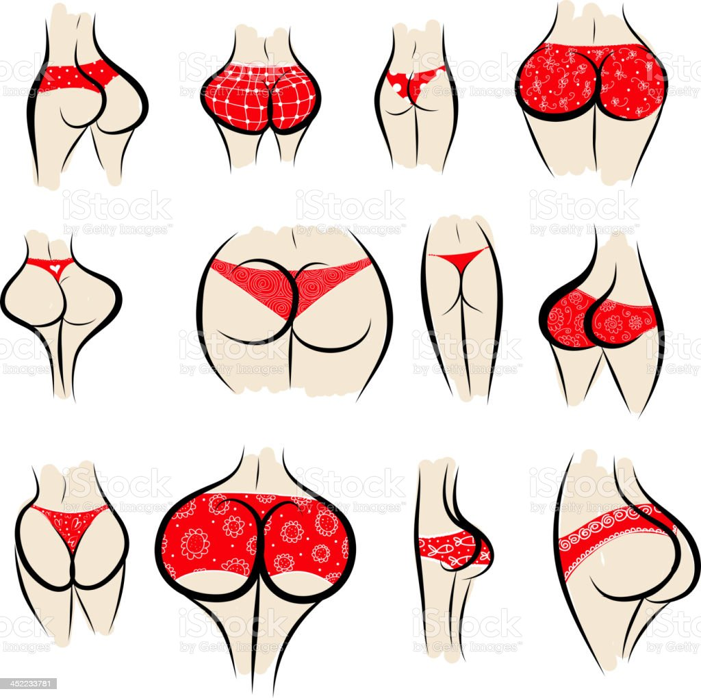 Collection of sexy female buttocks in panties royalty-free collection of sexy female buttocks in panties stock vector art & more images of adult