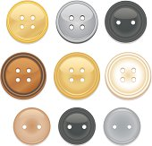 Set of shiny, glossy clothing buttons, sewing buttons in a variety of styles, colors, and 3 sizes. Shiny metallic gold, silver,charcoal grey,bronze or copper, pearlized, beige, pewter. Glass-like reflective buttons.
