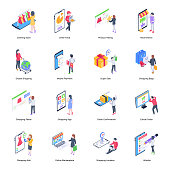 Isometric online shopping and ecommerce illustrations is designed for easy integration into an existing design. It has a modern and clean art style to reflect modern e-commerce business. Vector graphics are reusable, scalable, and easy to edit.