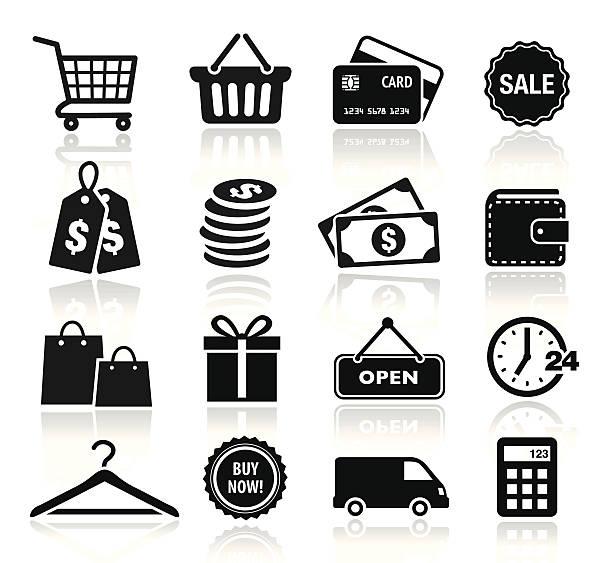 ilustrações, clipart, desenhos animados e ícones de coleção de ícones de compras - shopping