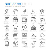 Collection of shopping related line icons. 48x48 Pixel Perfect. Editable stroke