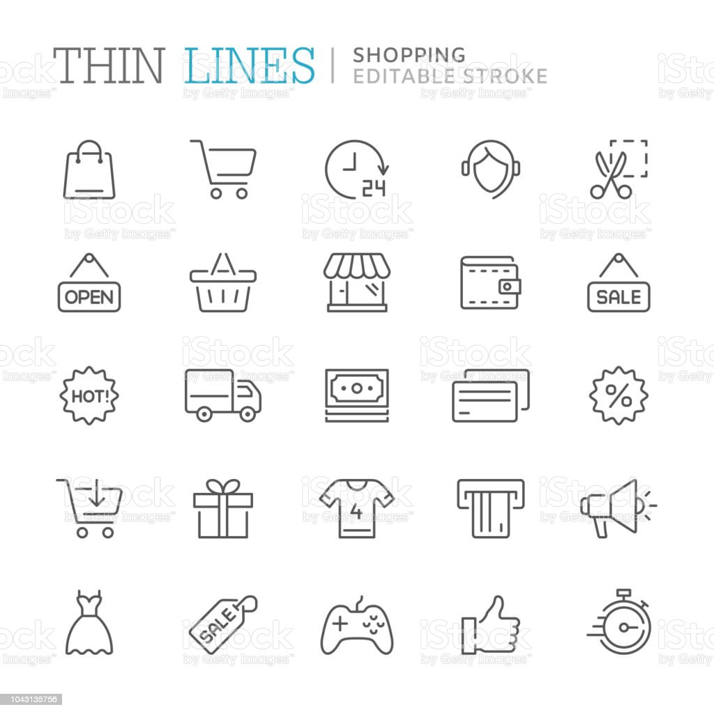 Collection of shopping related line icons. Editable stroke - Royalty-free A usar um telefone arte vetorial