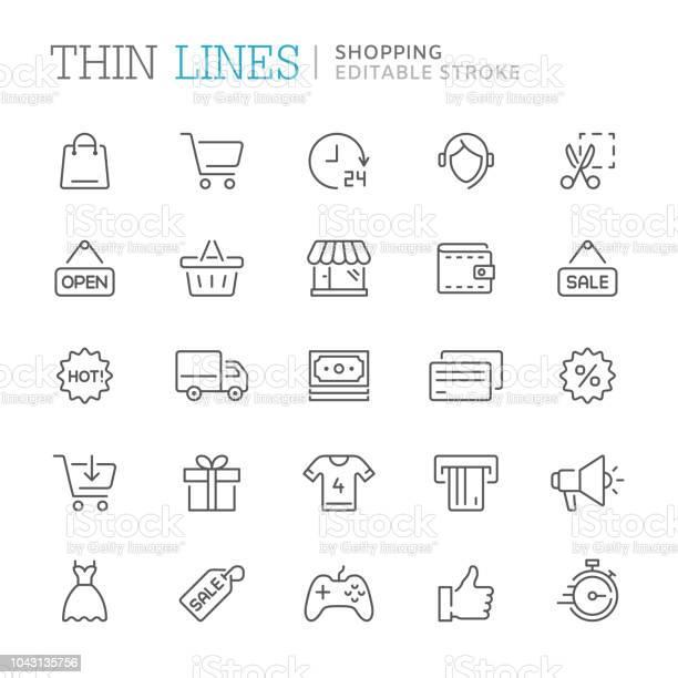 Collection Of Shopping Related Line Icons Editable Stroke - Arte vetorial de stock e mais imagens de A usar um telefone