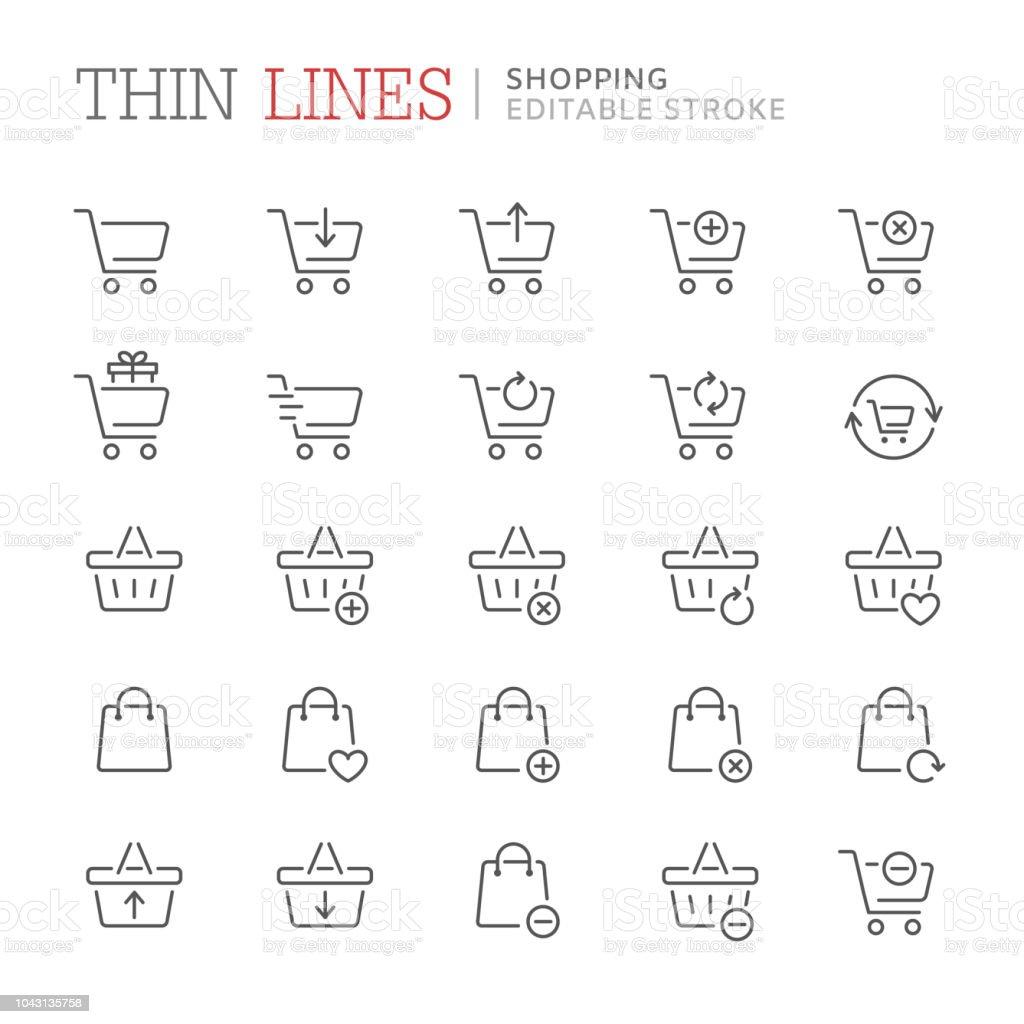 Collection of shopping related line icons. Editable stroke - Royalty-free Balcão de Pagamento arte vetorial