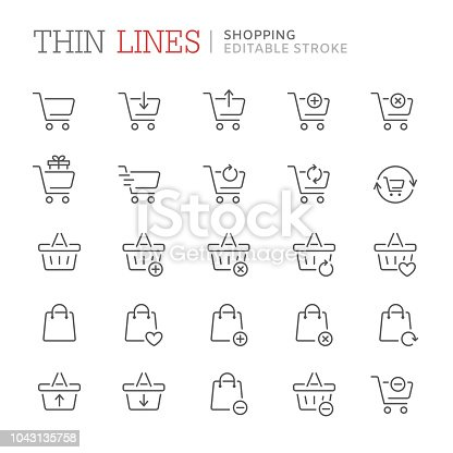 Collection of shopping related line icons. Editable stroke