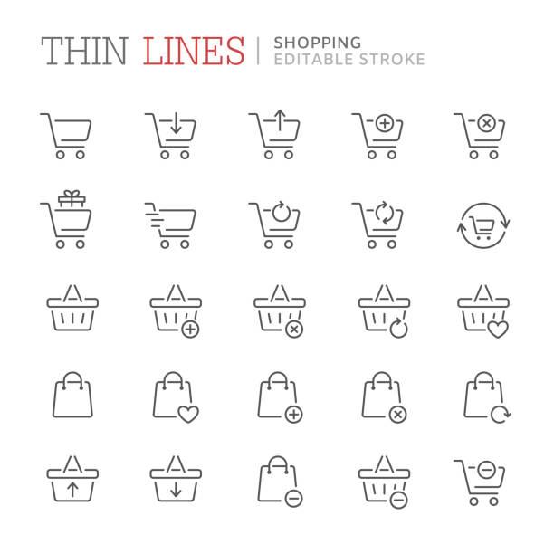 쇼핑의 컬렉션 라인 아이콘 관련. 편집 가능한 스트로크 - 바구니 stock illustrations