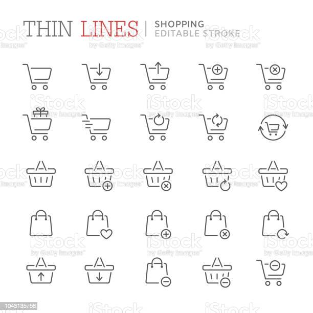 Collection Of Shopping Related Line Icons Editable Stroke - Arte vetorial de stock e mais imagens de Balcão de Pagamento
