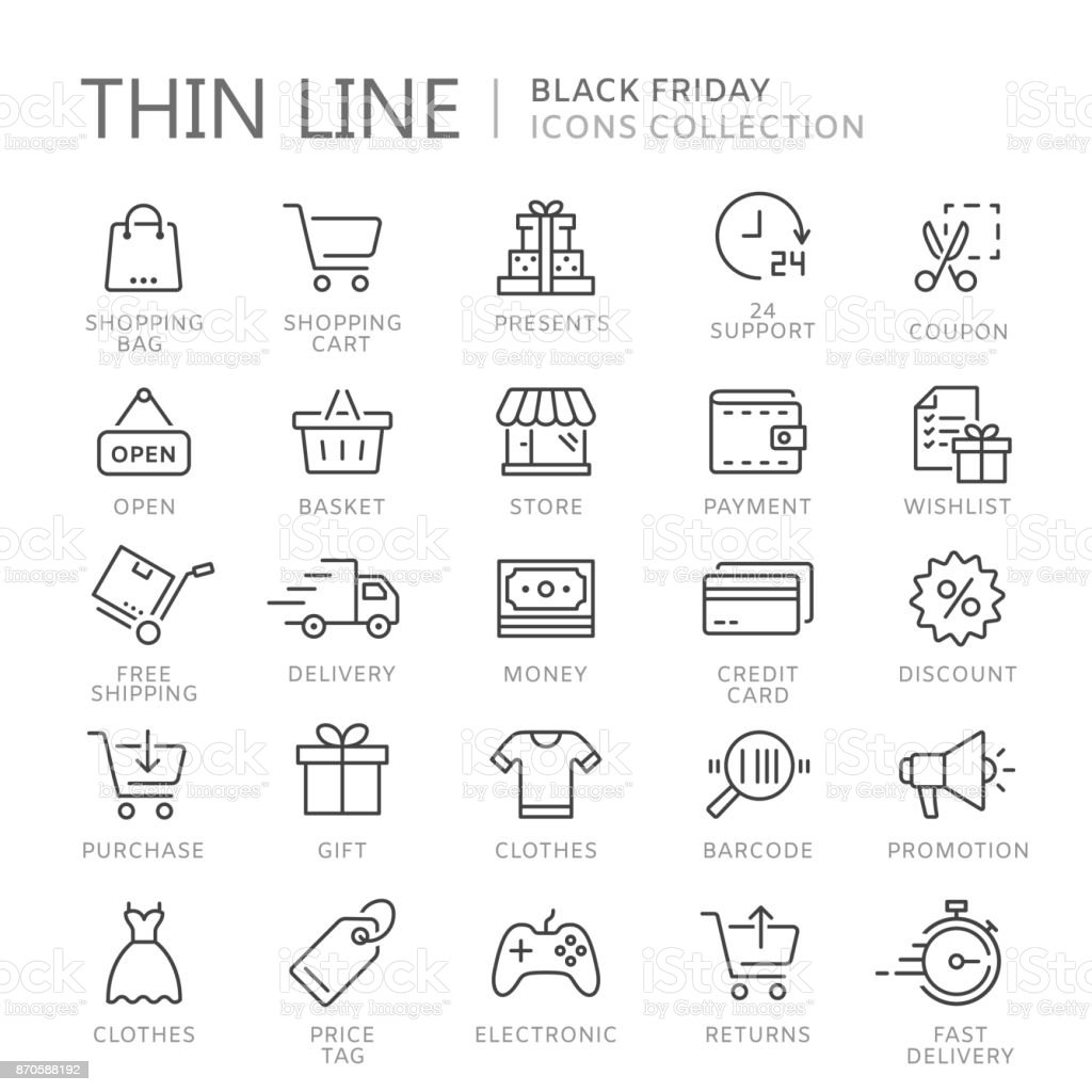 Collection of shopping thin line icons vector art illustration