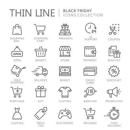 Collection Of Shopping Thin Line Icons - Stockowe grafiki wektorowe i więcej obrazów Bankomat