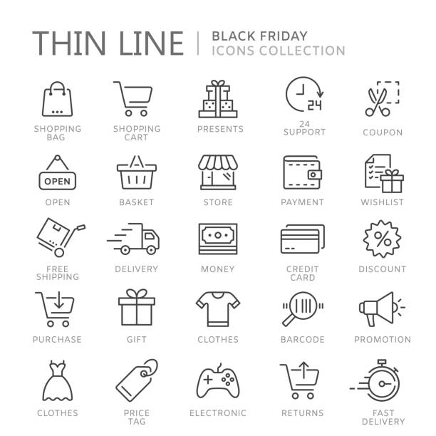 illustrazioni stock, clip art, cartoni animati e icone di tendenza di collection of shopping thin line icons - logistica