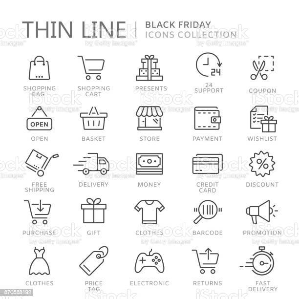Collection Of Shopping Thin Line Icons - Arte vetorial de stock e mais imagens de Apoio
