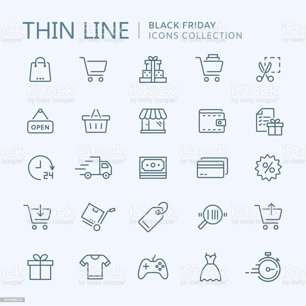 Sammlung des Einkaufens dünne Linie Symbole – Vektorgrafik