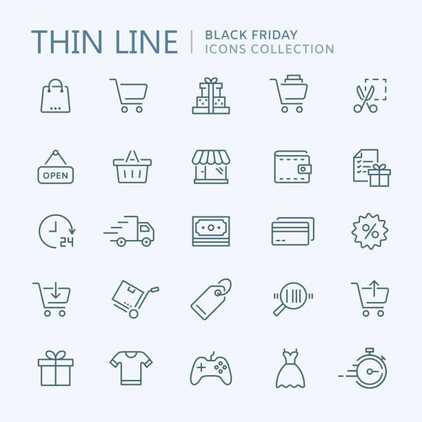 collection of shopping thin line icons - handel detaliczny stock illustrations