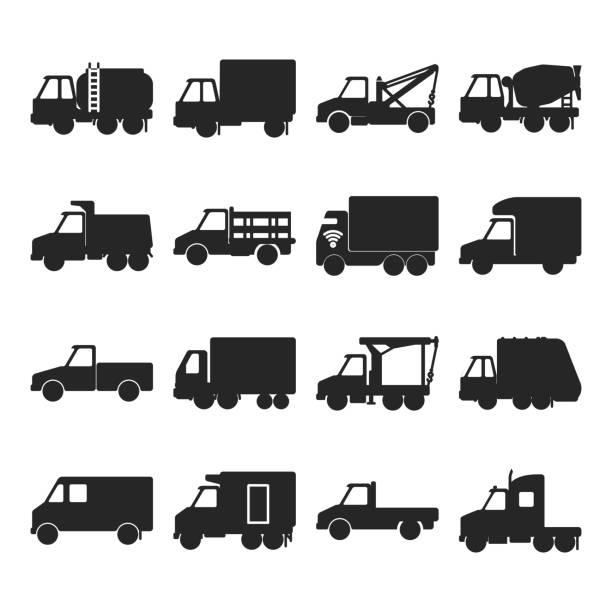 bildbanksillustrationer, clip art samt tecknat material och ikoner med insamling av siluett last bils ikoner i platt stil - traktor pulling