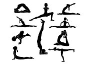Collection of silhouette Women yoga poses on white