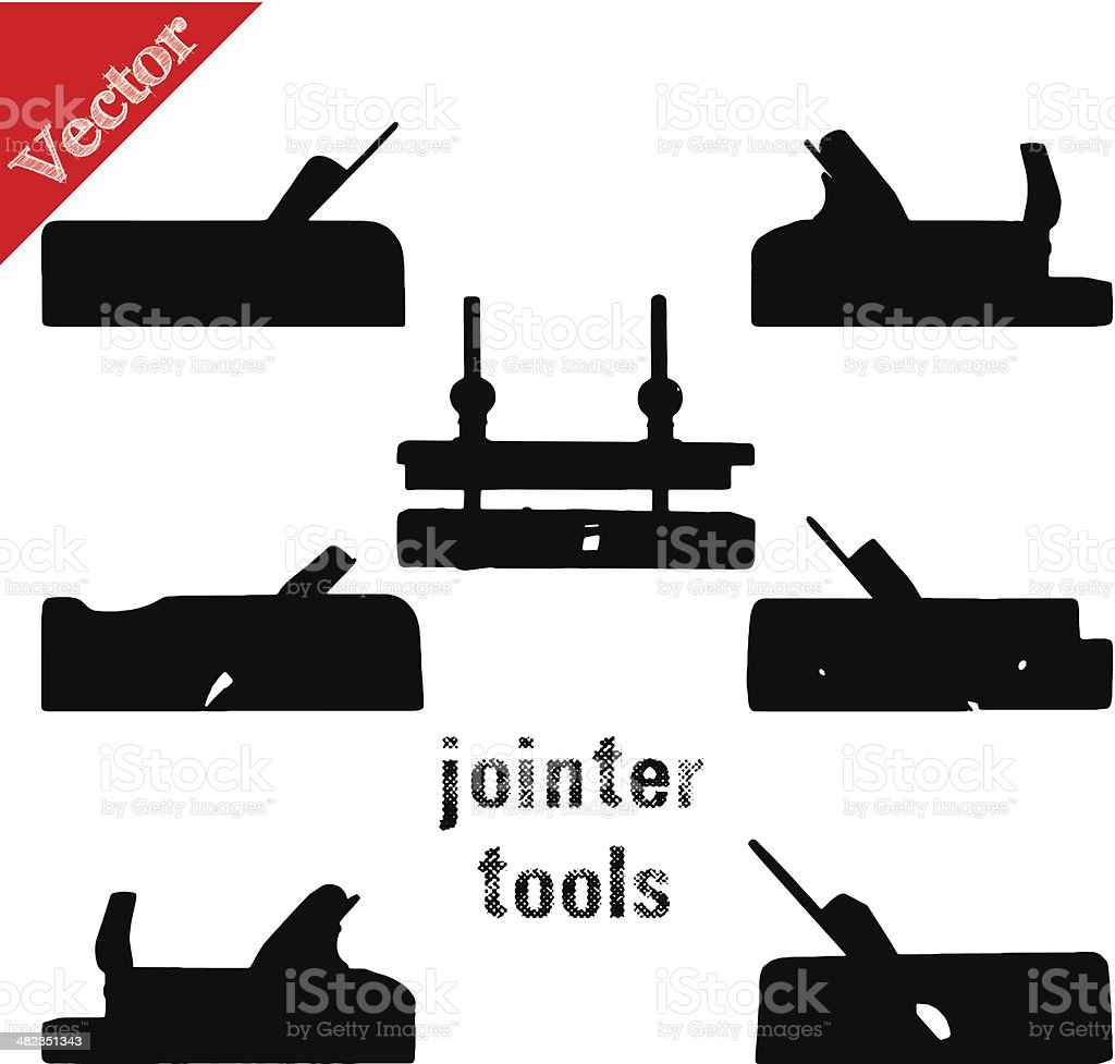 Collection Of Silhouettes Antique Woodworking Tools Isolated On