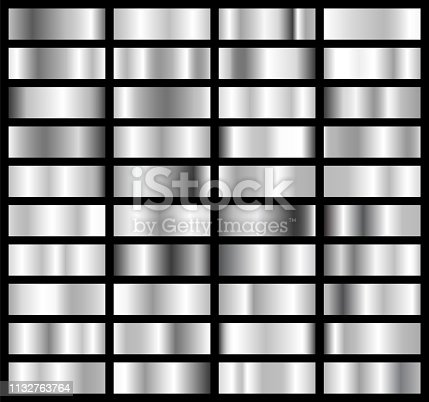 istock Collection of silver, chrome metallic gradient. Brilliant plates with silver effect. Vector illustration 1132763764