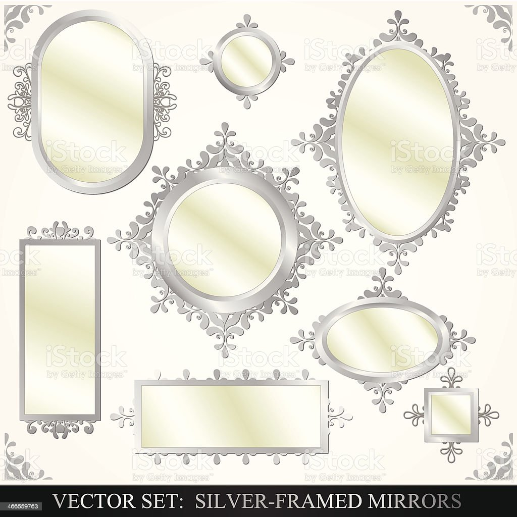 Collection of silver framed mirrors vector art illustration