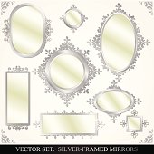 Collection of silver framed mirrors