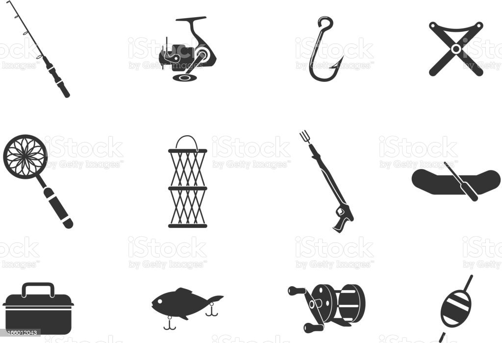 A collection of simple fishing icons vector art illustration