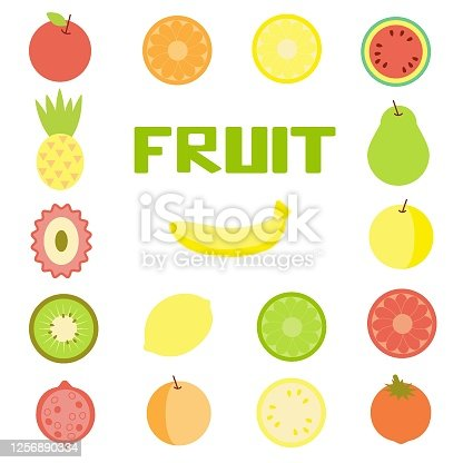 Set of Isolated Fruit On White Background. Collection of Simple Objects for Print, Design, Web and App.