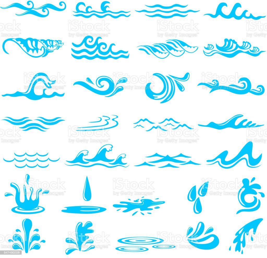 Collection of simple ocean Wave vector art illustration