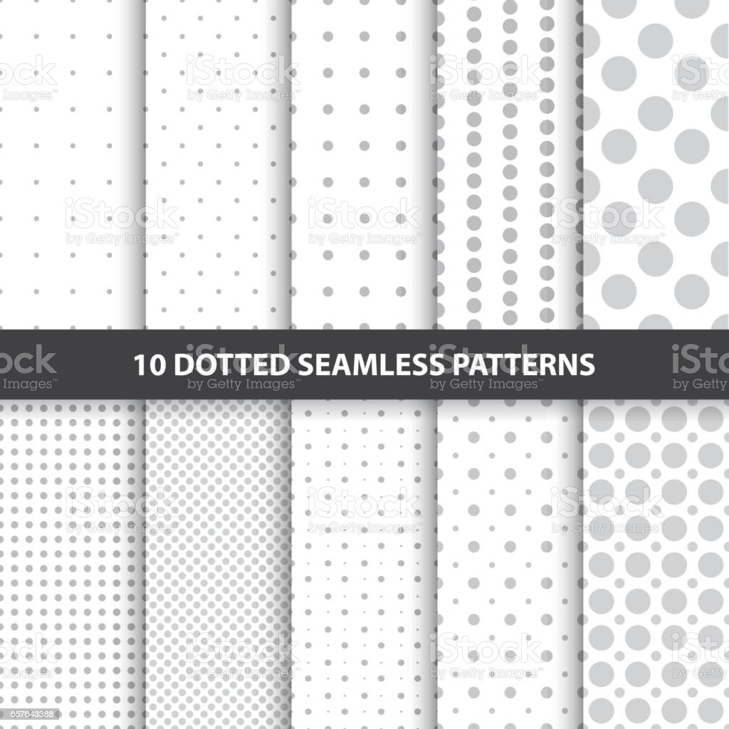 Coleção de simples sem costura pontilhada padrões. - ilustração de arte em vetor