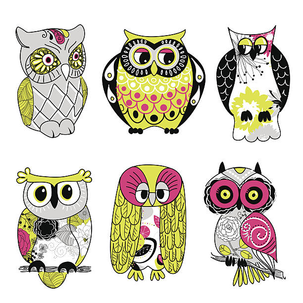 Collection of six different owls vector art illustration