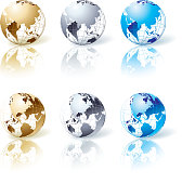 Vector illustration set of globe with shadow. EPS 8. CMYK color mode.  ZIP includes high res JPG and Ai CS3 files.
