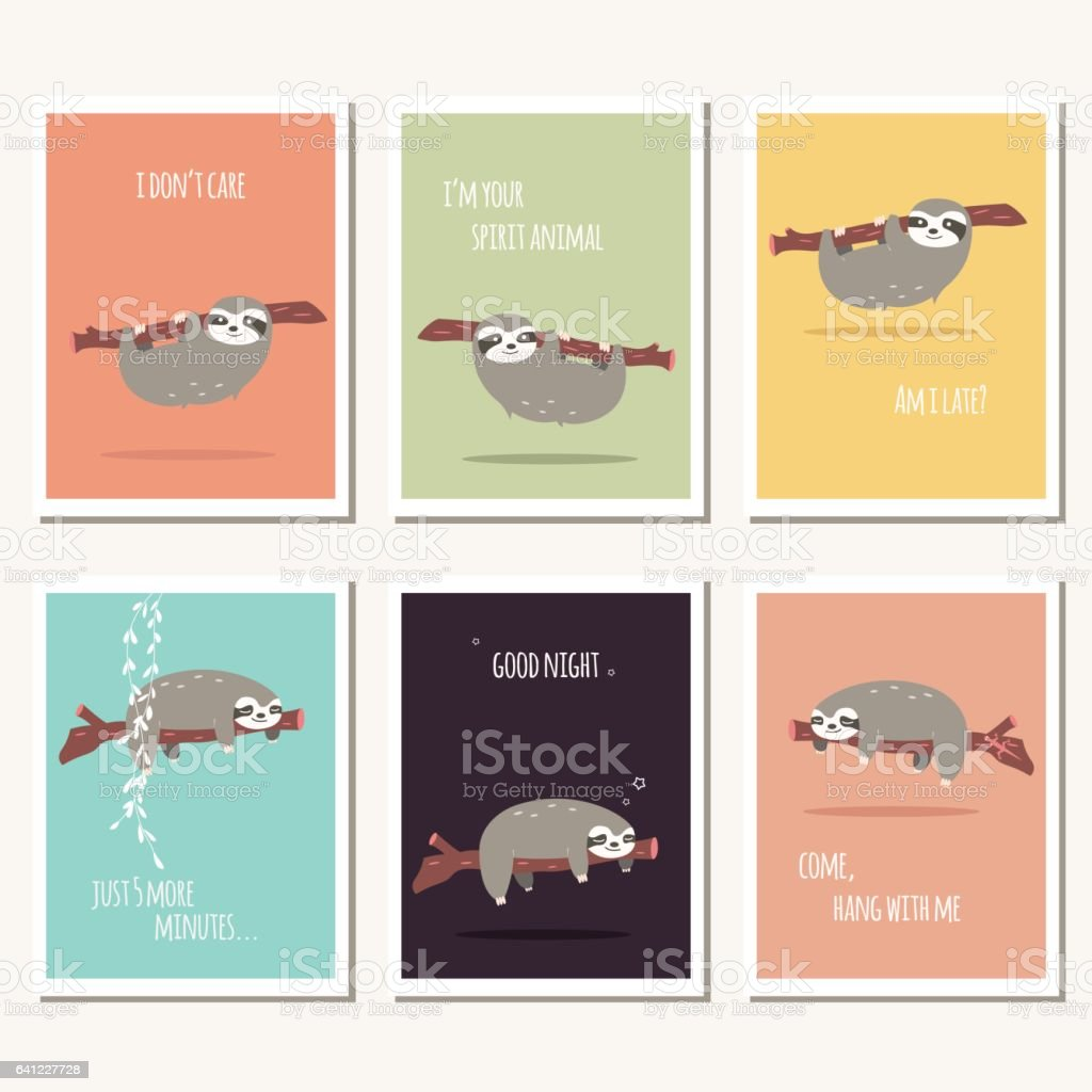 Collection Of Six Greeting Cards With Cute Sloth And Text Message
