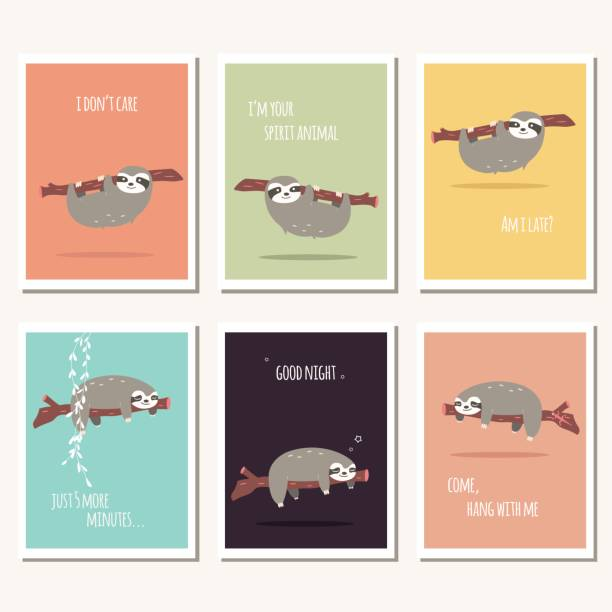 Collection of six greeting cards with cute sloth and text message, vector illustration vector art illustration