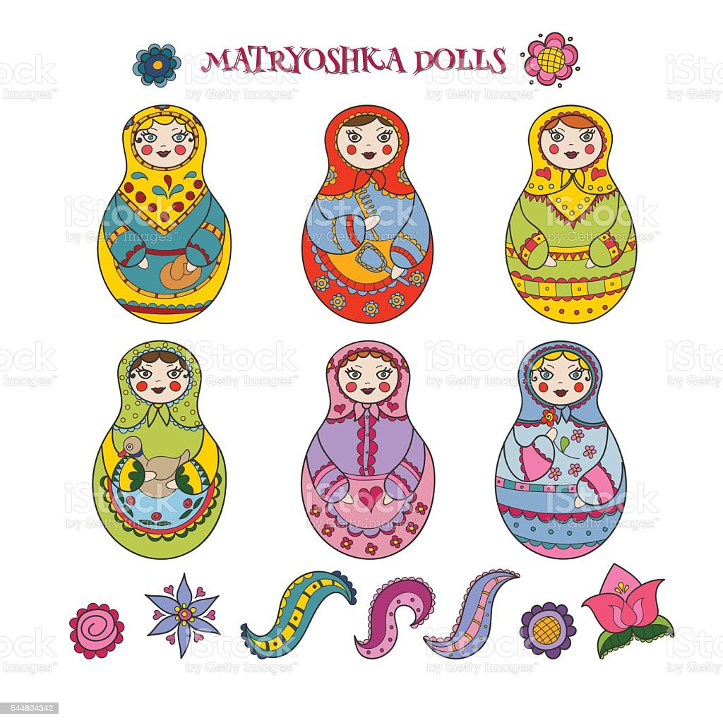 Collection of six hand drawn matryoshka dolls and decorative elements vector art illustration