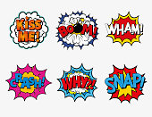 istock Collection of six multicolored comic sound Effects. 1248549489