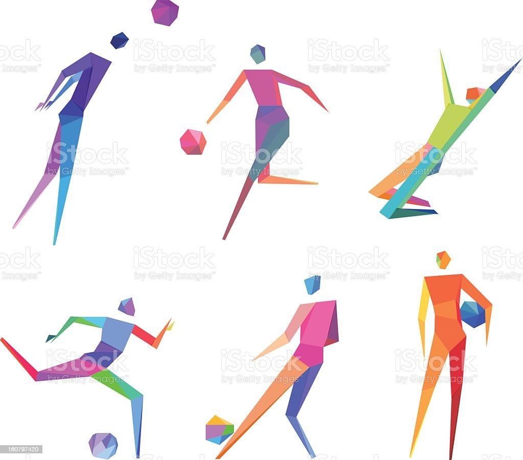 Collection of six polygonal people playing soccer royalty-free stock vector art