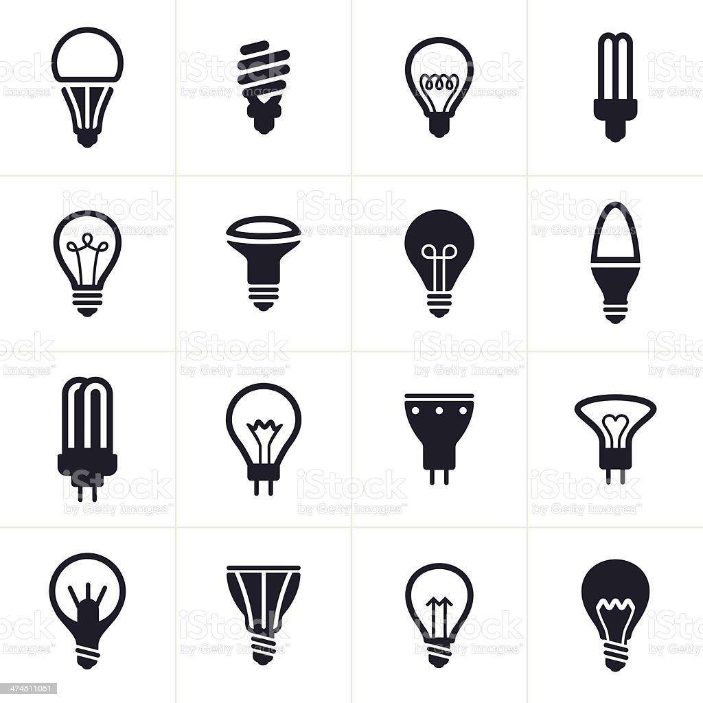 Collection of sixteen black light bulb symbols vector art illustration