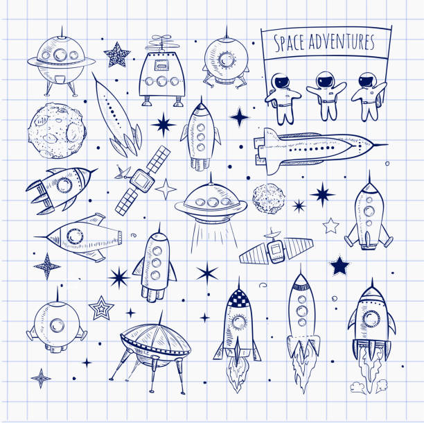 Collection of sketchy space objects vector art illustration