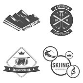 Collection of Ski club s. emblems and symbols in retro style vector illustration