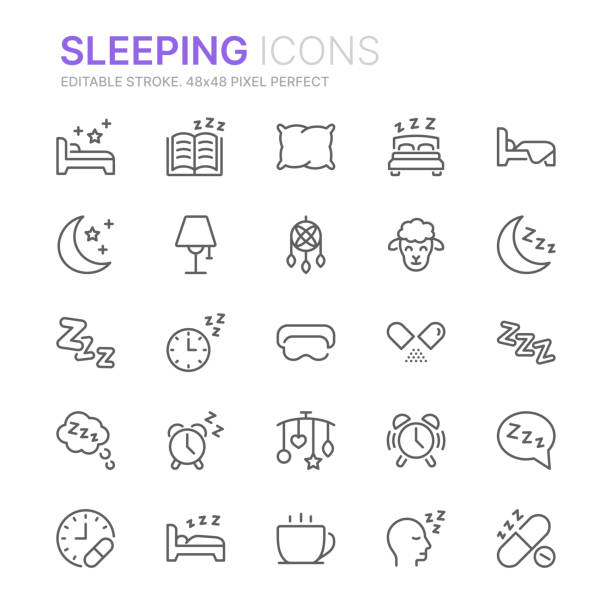 Collection of sleeping related line icons. 48x48 Pixel Perfect. Editable stroke Collection of sleeping related line icons. 48x48 Pixel Perfect. Editable stroke sleeping stock illustrations