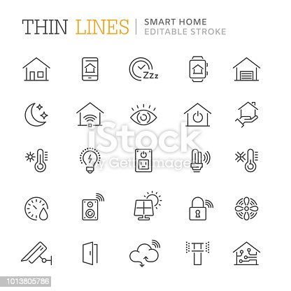 Collection of smart home line icons. Editable stroke