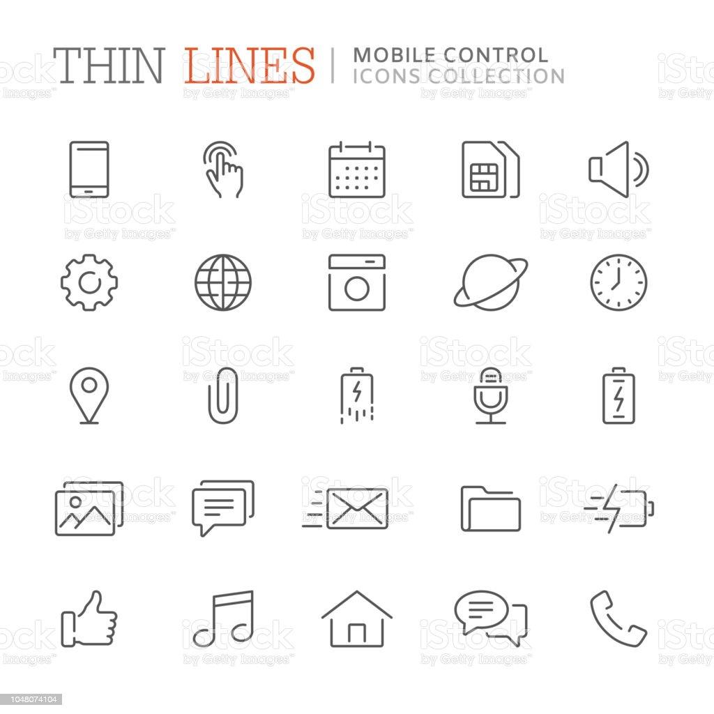 Coleção de smartphone relacionados com ícones de linha. Vector eps8 - ilustração de arte em vetor