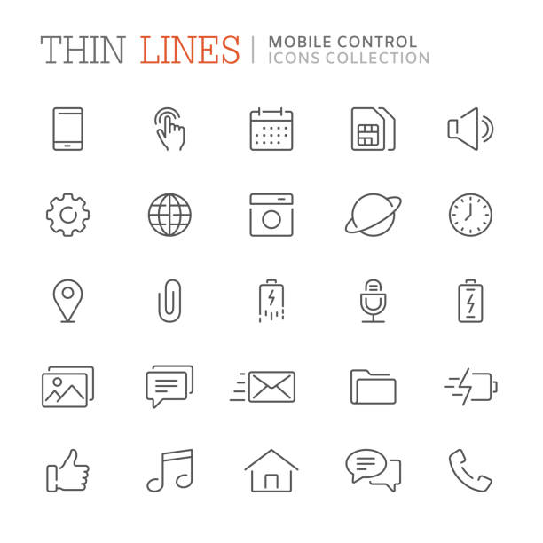 collection of smartphone related line icons. vector eps8 - в пути stock illustrations