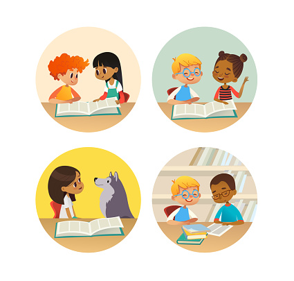 Collection of smiling children reading books and talking to each other at school library. Set of school kids discussing literature in round frames. Cartoon vector illustration for banner, poster.