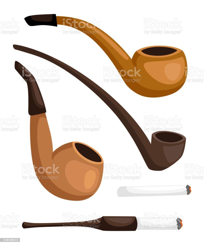 Ilustración de Colección De Pipas De Fumar Pipas De Tabaco Retro Con ...